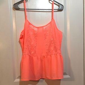 Neon orange sheer top